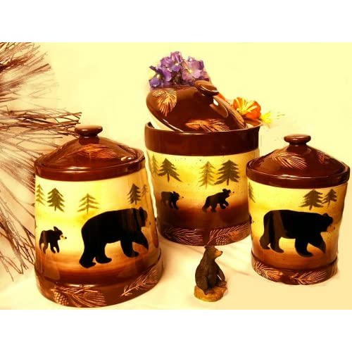 rustic cabin black bear kitchen canister 3 pc set