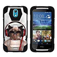 buy Htc Desire 526G , Durable Hybrid Fusion Shock Impact Kickstand Case With Silly Animal Designs By Miniturtle® - Cool Cat In Headphones