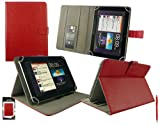 Emartbuy® Red Dual Function Stylus + Universal Range ( 8 - 9 Inch ) Red Multi Angle Executive Folio Wallet Case Cover With Card Slots Suitable for Argos Bush MyTablet2 8 Inch