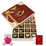 Chocholik Luxury Chocolates - Great Fantasy Of Dark And Milk Chocolate Box With Teddy And Love Card