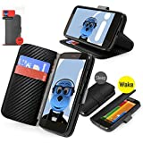 iTALKonline Motorola Moto G 4G (2013) CARBON FIBRE BLACK Executive Wallet Case Cover Skin Cover with HORIZONTAL VIEWING STAND Holder and Sleep Wake Sensor