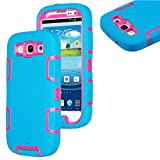 myLife (TM) Sky Blue and Pink - Rugged Robot Armor Series (3 Piece Neo Hybrid Flexi Case + Urban Body Armor Glove... by myLife Brand Products