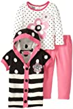 Young Hearts Little Girls Striped Floral Sweater and Pant Three-Piece Set