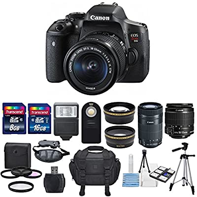 Canon EOS Rebel T6i 24.2MP DSLR Digital Camera & Canon EF-S 18-55mm f/3.5-5.6 IS STM Lens & EF-S 55-250mm f/4-5.6 IS STM + HD 58mm wide angle & Telephoto Lens +24GB Of Memory Class10 +Deluxe Bundle