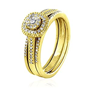 0.32 CT. Natural Diamond Bridal Collection 18K Yellow Gold Engagement Ring Set With Matching Wedding Band