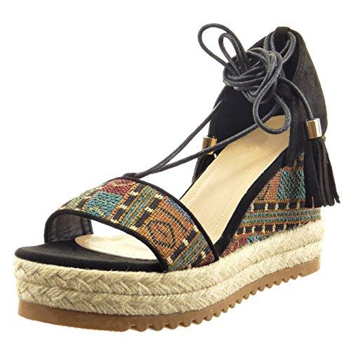 Sopily - Scarpe da Moda Espadrillas sandali alla caviglia donna pon pon camouflage corda Tacco zeppa piattaforma 9 CM - Nero FRF-14-L161 T 38