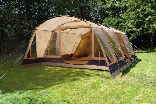 High Peak Nelson 6 Tent - 635 X 410 X 210 cm, Beige/Dark Blue/Orange