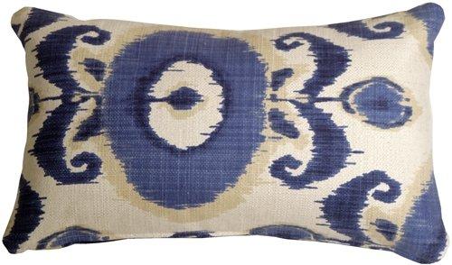 Pillow Decor - Bold Blue Ikat 12x20 Decorative Pillow