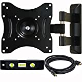 VideoSecu Articulating Arm LED LCD TV Wall Mount for Mid Size VESA 200 100 Flat Panel Screen, Full Motion Mount Bracket with Free Bubble Level and HDMI Cable A35 revision