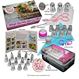 Bake A Wish NEW 2019 Ultimate Cake Deco Russian Piping Tips Set 62 Pcs, 22 Premium Quality Stainless Steel Icing Nozzles (7 Russian + 12 Regular + 3 Ball) User Guide Storage Box and Bonus Gift