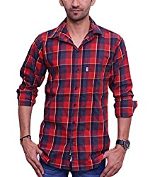 Ballard Men's Casual Shirt (BCS0008_Red_42)