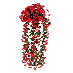 Artificial Silk Flower Violet Hanging Garland Wedding Party Decor - red, 30 IN