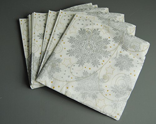 1x-pack-of-20-white-silver-and-gold-snowflake-star-christmas-paper-napkins-serviettes