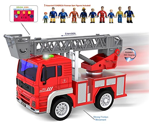 FUNERICA Mini Fire Truck with Lights and Real life Sounds - Extendable Ladder and Powerful Friction Rolling Action - Firetruck Toy for Kids/Toddlers Aged 2 & Up. BONUS: 5 Fireman Sam Design Figures (Big Truck Bedding compare prices)