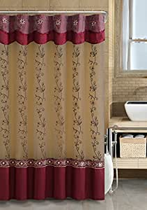 Two Layered Embroidered Fabric Shower Curtain With Attached Valan