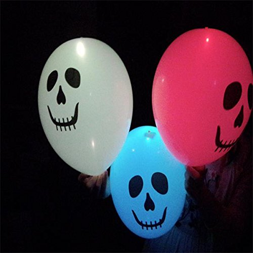 Glovion Mixed Color Party Led Light Up Balloons - Ghost Head (20Pcs)
