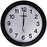 Lorell Wall Clock with Arabic Numerals 12-Inch White Dial/Black Frame