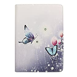IKASEFU(TM)Girl's Cute Flower PU Leather Folio Case Protective Book Style Flip Cover Bling Case with Stand and Rhinestone for 7