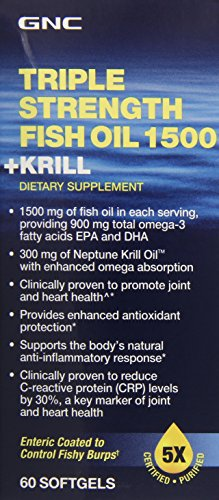 GNC Triple Strength Fish Oil 1500 Plus Krill Supplement, 60 Count (Triple Strength Fish Oil 1500 compare prices)
