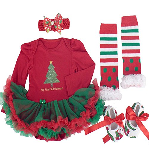 Infant Baby Little Girls Christmas Tree Outfits Xmas Sets Dress Romper Headband