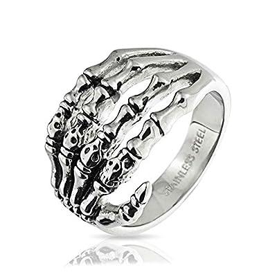 Bling Jewelry Stainless Steel Gothic Biker Mens Skeleton Hand Skull Ring from Bling Jewelry