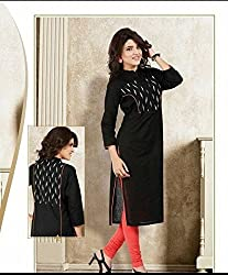 Maa Textile Women's Black semi-Stitched kurtis(K1020_Black_free size)