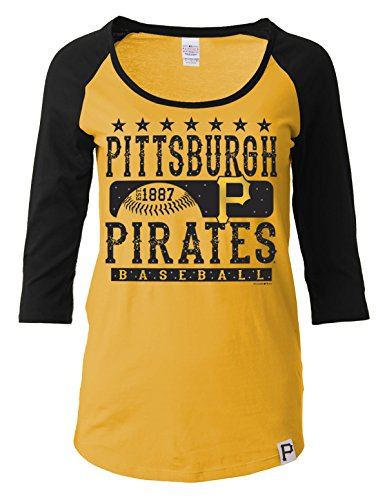 MLB Pittsburgh Pirates Women's 3/4 Sleeve Scoop Neck Tee with Contrasting Sleeves, Yellow, Large
