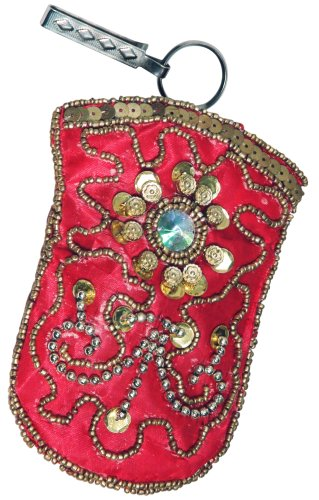 Birthday Or Anniversary Gift Ideas for Women & Girls a Beaded & Hand Embroidered Satin Cell Mobile Phone Blackberry Ipod Iphone Samsung Case Cover Pouch