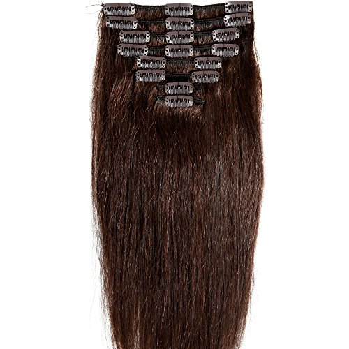 29dd9dc59d8c2f Standard Weft 20 Inch 105g Dark Brown Clip in 100% Real Remy Human Hair  Extensions 8 Pieces 18 Clips. by us fashion outlet