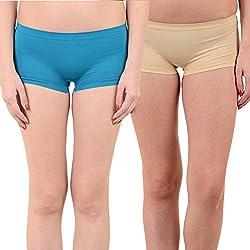 Mynte Women's Sports Shorts (MEWIWCMBP-SHR-104-96, Blue, Beige, Free Size, Pack of 2)