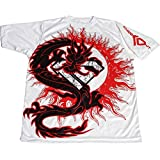 KO Sports Gear Rash Guard - Dragon Design - Red And White - Shortsleeve - For Brazilian Jiu Jjitsu, Grappling,...