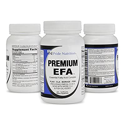#1 Burpless Fish Oil Omega 3 6 9 EFA with EPA DHA CLA GLA Flax & Borage- More Than Just Fish Oil- Pride Premium EFA - Essential Fatty Acids Supplement for Weight Loss Heart Health & Joint Relief