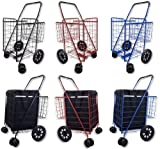 Folding Shopping Cart DOUBLE BASKET SWIVEL Wheel Jumbo 360 Easy Rotation WITH FREE LINER AND CARGO NET by SCF (BLACK WITH BLACK LINER)