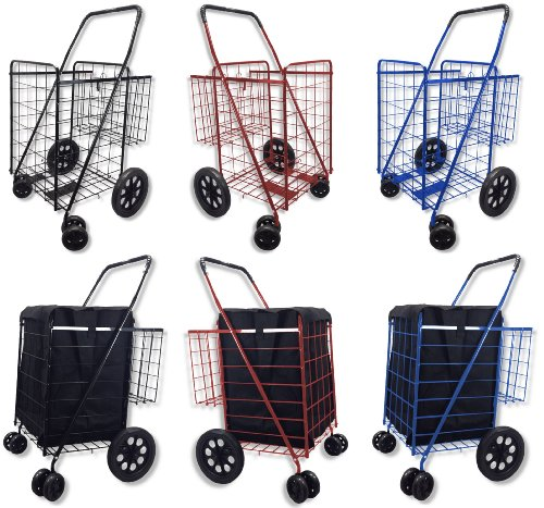 Folding Shopping Cart DOUBLE BASKET SWIVEL Wheel Jumbo 360 Easy Rotation WITH FREE LINER AND CARGO NET by SCF (BLACK WITH BLUE LINER) (Baskets With Wheels compare prices)