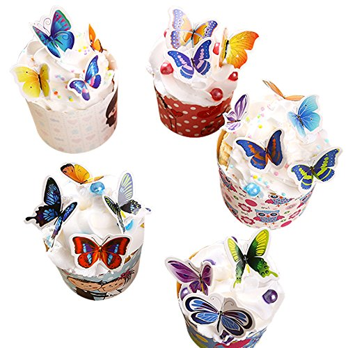 Winrase® Pack of 50 Colorful Small Butterfly Party Decoration Cake and Cupcake Toppers