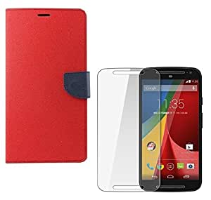 YGS Premium Diary Wallet Mobile Case Cover For Motorola Moto G 1st Gen-Black With Tempered Glass