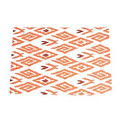 SARO LIFESTYLE 4-Piece Ikat Printed Design Placemats Set, 13 by 19-Inch, Tangerine, Oblong