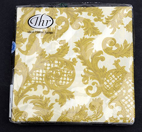 20 Thr Lunch 3 Ply Napkins 13'' x 13'' Gold 50th Anniversary Wedding