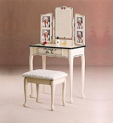 Shop Queen Anne Desk Chair Set Free Shipping Today >> Best 4 Buy Painted Vanity Home Garden 2pc Traditional Style