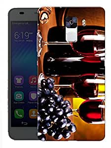 """Humor Gang Wine Glasses And Grapes Printed Designer Mobile Back Cover For """"Huawei Honor 7"""" (3D, Matte, Premium Quality Snap On Case)"""
