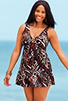Shore Club Cheyenne Plus Size Ring Front Swimdress Plus Size Swimsuit - Brown - Size:20