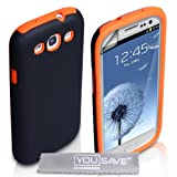 Samsung Galaxy S3 Case Dual Combo Cover Black / Orange With Screen Protectorby Yousave Accessories
