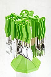 Planet Royal Cutlery Set, Spoon Stand 25-Pieces (Color May Vary)