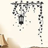 Happy Walls Lamp With Stand With Swirling Vines Abstract - Vector/Modern Art Wall Sticker/Decals (5785)