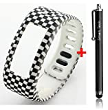 Smart Tech Store Square Pattern Black White Replacement Band With Clasp for Garmin Vivofit Only /No tracker/ Wireless Activity Bracelet Sport Wrist band Garmin Vivo fit Bracelet Sport Arm Band Armband