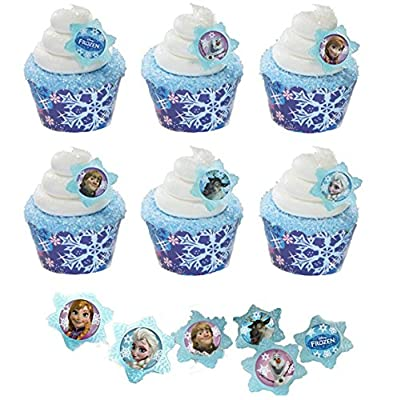 24 Disney Frozen Cupcake Rings & 24 Snowflake Cupcake Wrappers from KJ Collections