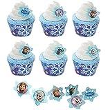 24 Disney Frozen Cupcake Rings & 24 Snowflake Cupcake Wrappers