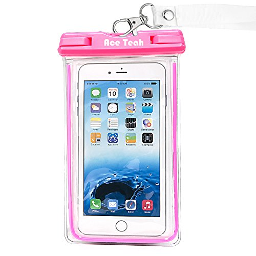 Waterproof Case, Ace Teah Clear Universal Waterproof Case, Pouch Perfect Dry Bag / Durable Snowproof Dirtproof Protection for iPhone 6 6s Plus, Samsung Galaxy s4 s5 s6 S7 edge, Note 3 4 5 - Pink (Galaxy Note Edge Cell Phone Case compare prices)