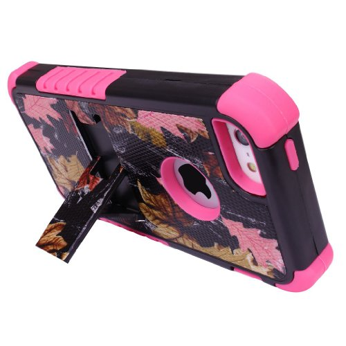 3 Layers Heavy Duty Rugged Real Tree Maple Camo Hard Soft Case Cover Stand for iPhone 5 5s Stylus Screen Protector - Pink