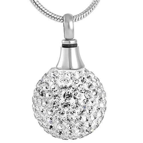 Urne funéraire Jewelry Pendentif Boule de Cristal en acier inoxydable avec chaîne
